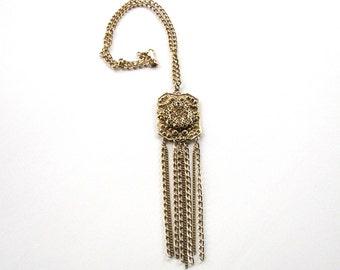 boho tassel necklace . vintage chain necklace . dangle necklace . hippie necklace . long chain necklace . bohemian sautoir necklace