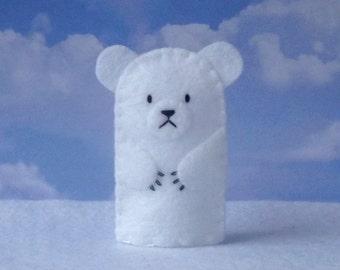 Polar Bear Finger Puppet - Felt Polar Bear Puppet Animal Finger Puppet - Zoo Toy - Artic Animal Puppet - Polar Bear Puppet