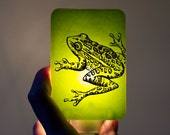 Frog Nightlight on Lime Green Fused Glass Night Light - Gift for Baby Shower or Nature Lover - spring animal