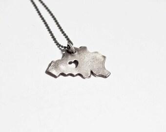 i heart Belgium Necklace - Silver - Belgium Country Necklace I Love Belgium Necklace Map Jewelry Country Heart Personalized