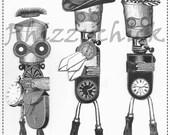 Bots - Digital Artwork Collage Sheet