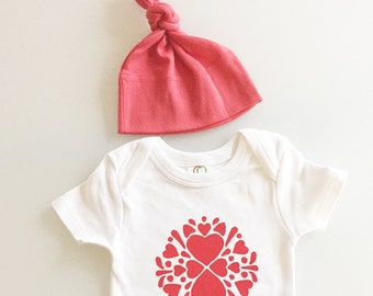 Heart baby shirt - folk art hearts baby set - coral and white baby outfit - baby girl gift - hearts 0-3m