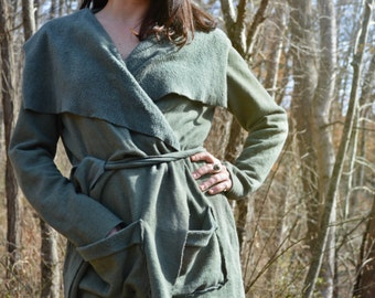 The Shanti Wrap Jacket in Organic Hemp Fleece. Large Front Pockets. Made to order.