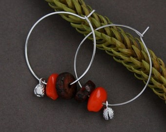 hoop earrings with red seeds and silver charms - organic jewelry - natural earrings - eco friendly