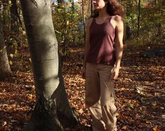 organic hemp tank top / undershirt - 100% hemp and organic cotton - hand dyed in bark brown - medium