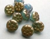 Czech glass beads - flower button beads-blue luster 6x12mm pack of 10 (FL07)
