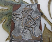 Antique Letterpress Printers Block Leprechaun with Pipe and Shillelagh