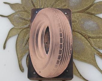Vintage Letterpress Printers Block Tire