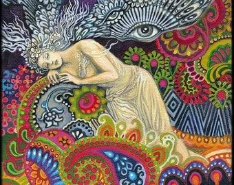 Theia Goddess of Sight and Heavenly Light 8x10 Fine Art Print Pagan Mythology Psychedelic Art Nouveau Gypsy Goddess Art