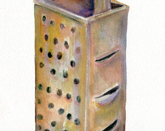 PRINT of my  Vintage Box Grater watercolor painting  5 x 7 Culinary, kitchen utensil illustration, dining, food art, kitchen decor