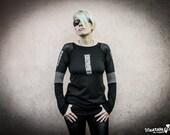 BINARY CODE - Long sleeve Shirt Cyberpunk Industrial Black Grey Goth Dystopian