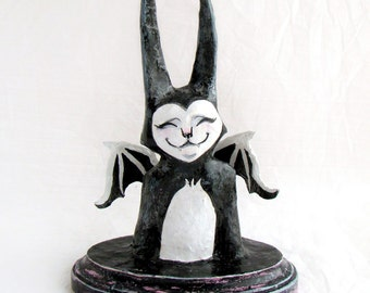Papier Mache Batcat Bust- Painted Sculpture