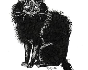 Halloween, original cat illustration by Johanna Öst