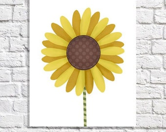 Sunflower Nursery Art Baby Girl Nursery Ideas Pictures Of Whimsical Flowers Yellow Room Decor Girls Wall Art Kitchen Print Floral Artwork