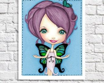 Purple Butterfly Nursery Fairy Room Decor Tween Girl Wall Art Little Girl Bedroom Ideas Beautiful Fairy Picture Children's Art Fantasy Print