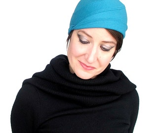 Turquoise blue wool jersey turban hat with asymmetrical fitted shape , womens sewn winter skullcap beanie : Upswing