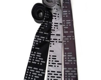 Morse Code necktie. Dot and Dash, telegraph men's tie. Ham radio gift, amateur radio, computer science, military history, aviation & more.