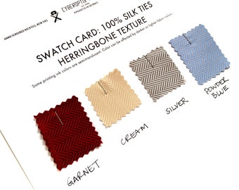4 herringbone silk necktie swatches: our new woven silk. Color samples for custom, wedding and groomsmen ties. Choose from 9 colors.