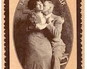 Edwardian couple love postcard Valentine's affection