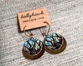 Leather & Antique Brass Earrings Tree Tangle with Digital Photo Print on 100% Genuine Leather