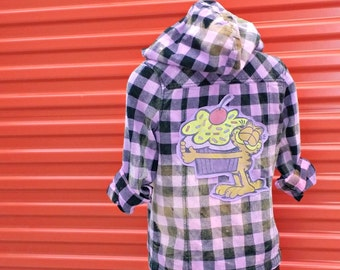 Women's  Cupcake Hoody . Size Small . Black Purple Plaid . Jacket . Rockabilly . Recycled Clothing . Punk . Rockstar . 80s . Ecochic