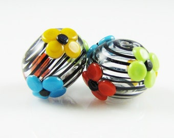 Bright Flower and Black Swirl Hollow Lampwork Glass Bead Pairs