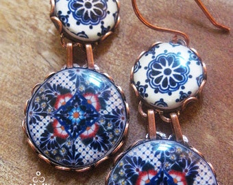 Ethnic earrings, Mexican jewelry, Mexican plates, Mexican pottery design, Ethnic jewelry, drop earrings, Southwestern, statement earrings