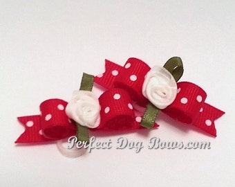 Valentines Day Dog Bows, Red Grosgrain with White Dots for puppy dogs