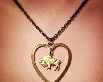 Buffalover Buffalo Heart Necklace, Bison Necklace, Colorado, Nickel City, Buffalove Buffaluv, Great Lakes, Buffalo