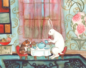 RESERVED for LS - Original Art - Tea with Guinea Pig- Watercolor Rabbit Painting