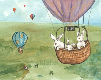Balloon Day - Fine Art Rabbit Print