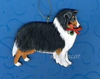 Handpainted Shetland Sheep Dog Christmas Ornament
