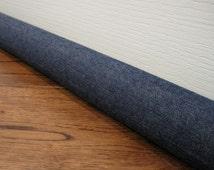 CUSTOM length draft stopper, denim door draft snake, draft dodger. Dark denim fabric.