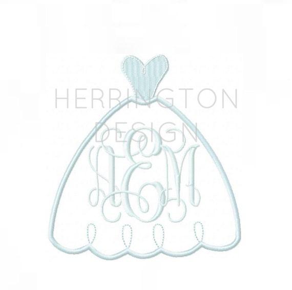 Wedding dress applique embroidery design machine