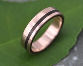 Rose Gold Equinox Nacascolo Wood Ring - ecofriendly recycled rose gold wood wedding band, rose gold wood wedding ring