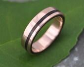 Rose Gold Wood Ring Equinox Nacascolo - ecofriendly recycled rose gold wood wedding band, rose gold wood wedding ring