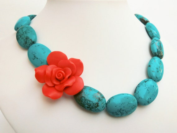 Turquoise Statement Necklace with Red Rose, Frida, Bold, Chunky, Asymmetric Beaded Turquoise Jewelry, Stone Beads with Fimo Clay Flower