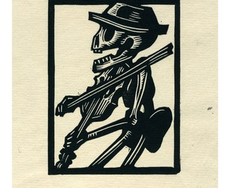 Calavera Violinist original print