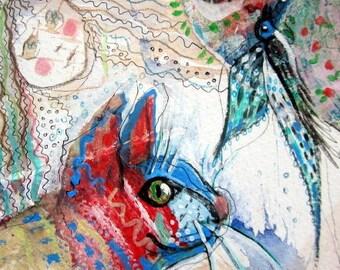 Original Painting mixed media, cat collage,  folk art painting, cat illustration, cat and bird art, small painting, animal art, bird drawing