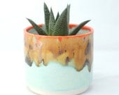 Round Ceramic Planter - Succulent Planter- Handmade Planter - Desert Landscape Colors - Ceramics and Pottery- Modern Ceramics