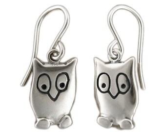 Owl Charm Earrings - Sterling Silver Owl Earrings
