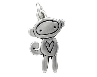 Tiny Sock Monkey Necklace - Sterling Silver Monkey Pendant - Sock Monkey Charm