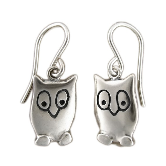 Owl Charm Earrings - Sterling Silver Owl Earrings
