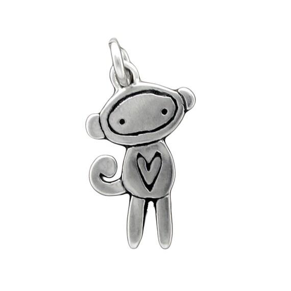 Tiny Sock Monkey Necklace - Sterling Silver Monkey Pendant - Sock Monkey Charm