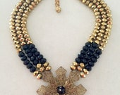 SALE Vintage Statement Necklace, Gold, Black, Crystal  - Supernova