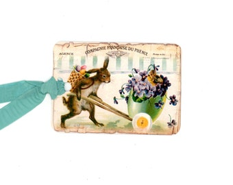 Easter gift tags easter bunny tags easter rabbit vintage easter bunny tags vintage easter easter egg french easter violets easter negle Choice Image