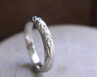Twig white 14kt gold woodgrain ring Thinnest PLYWOOD 3mm sz 6.5