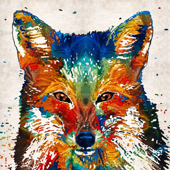 Colorful Fox Animal Art PRINT from Painting Primary Colors Red