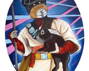Digital Print of Princess Leia From Star Wars Return of the Jedi in Disguise as Boushh the Bounty Hunter Holding a Bunny Rabbit