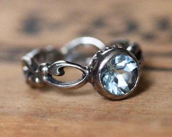 White gold Aquamarine engagement ring- bezel set engagement - March birthstone - filigree ring - infinity - custom made to order- Wrought